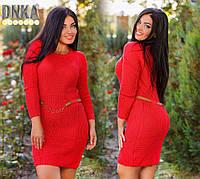Красное вязаное платье с поясом, Турция. Арт-9091/35