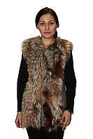 Жилетка женская с поясом (натуральная кожа + натуральный мех), фото 1