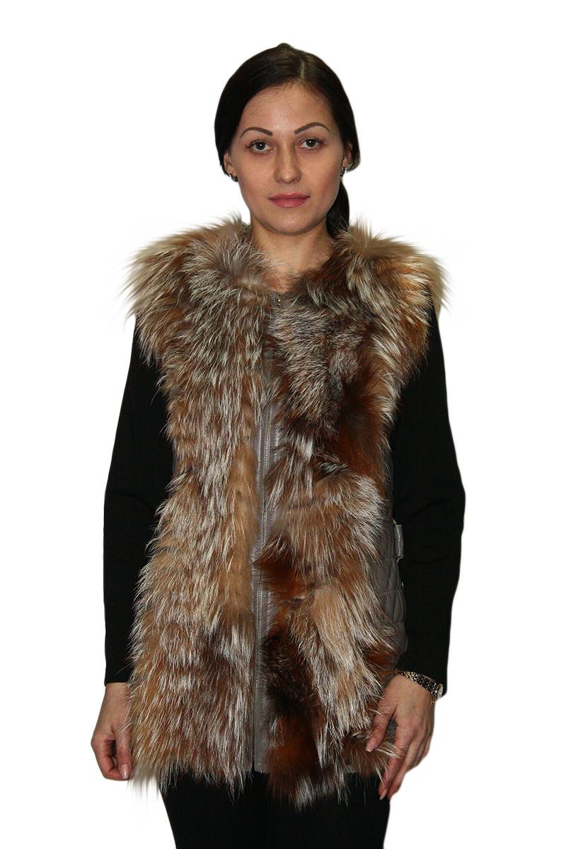 Жилетка женская с поясом (натуральная кожа + натуральный мех) / fur vest 317