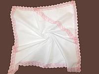 Теплая крыжма для девочек с уголком розовое кружево