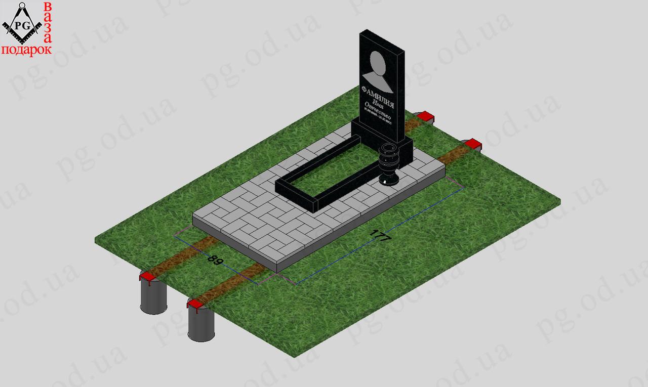 Памятник одинарный с установкой №5 + цветник