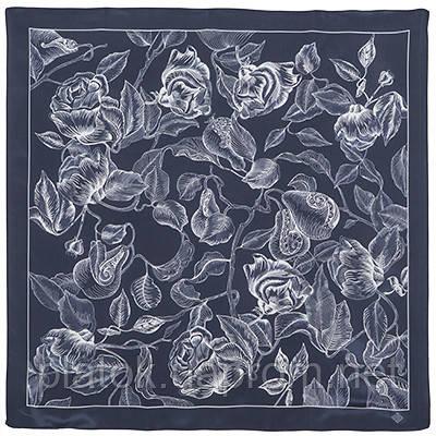 10071-14, павлопосадский шейный платок (крепдешин) шелковый с подрубкой