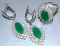 """Набор  """"серьги и кольцо"""",покрытие родием. Камень:белый и зелёный циркон. Высота серьги: 4 см Ширина: 15 мм"""