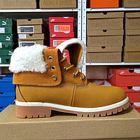 Зимние женские ботинки на меху и шнуровке TIMBERLAND YELLOW BOOTS