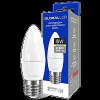 LED лампа GLOBAL C37 CL-F 5W 3000K (мягкий свет) 220V E27 AP (1-GBL-131)