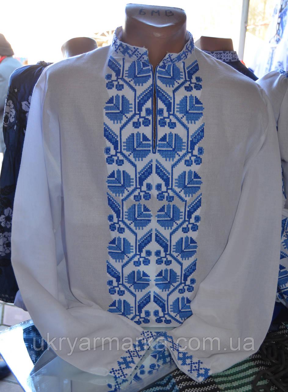 """Чоловіча сорочка з вишивкою """"Синя птаха"""""""