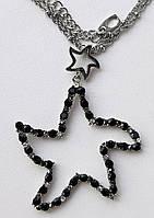 """Кулон """"Звезда"""" с прозрачными и черными стразами Swarovski на двойной цепочке."""