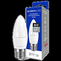 LED лампа GLOBAL C37 CL-F 5W 4100K (яркий свет) 220V E27 AP (1-GBL-132)