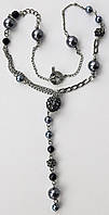 Ожерелье с черными стразами Swarovski и искусственным жемчугом