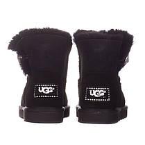 Угги женские замшевые UGG AUSTRALIA 1003889 W/BLK-G черные, фото 2
