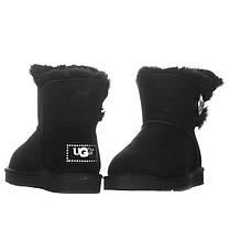 Угги женские замшевые UGG AUSTRALIA 1003889 W/BLK-G черные, фото 3