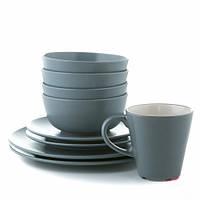 Набор столовой посуды 16 предметов, серо-голубой