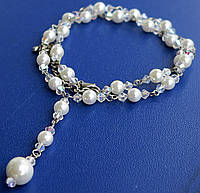 Ожерелье со стразами Swarovski и искусственным жемчугом