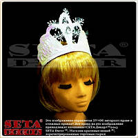 Корона диадема Зимняя Королева новогодняя белая