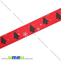 Репсовая лента с новогодним рисунком Ёлочки, 25 мм, Красная, 1 м (LEN-017977)
