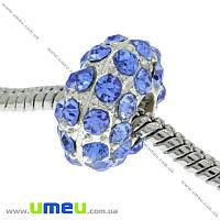 Бусина PANDORA мет. посеребренная со стразами, 14х8 мм, Синяя, 1 шт (BUS-003593)