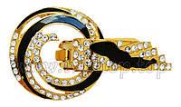 Шубный крючок-застежка 6,5 см, под золото, круглая, со стразами