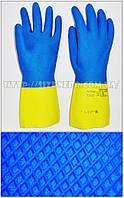 Перчатки КЩС К80 Щ50 латексные с неопреном, модель 405 (желто-синие)