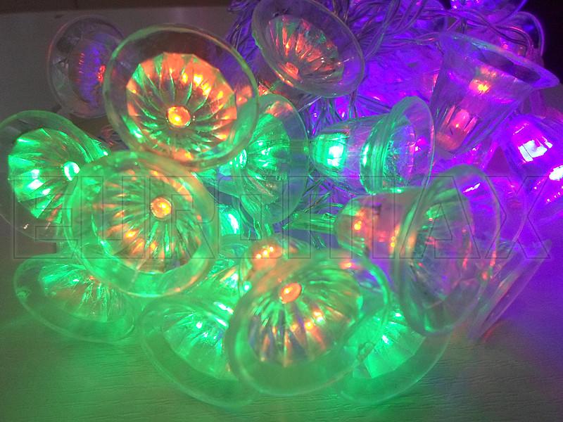 Гирлянда 40 колокольчиков прозрачный провод (микс) PLASTIC-40-2M