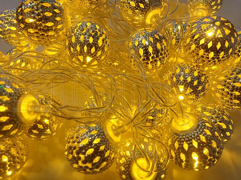 Гирлянда 40 шариков металл прозрачный провод (теплый белый) 60шт METAL-40-1-WW
