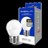 LED лампа GLOBAL G45 F 5W 3000K (мягкий свет) 220V E27 AP (1-GBL-141)