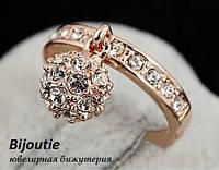 Кольцо SHINE BALL ювелирная бижутерия золото 18к кристаллы Swarovski