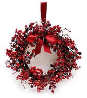 Новогодний венок из красных ягодок во льду с бантиком, 40см