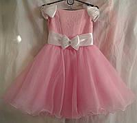 Детское нарядное платье 6-7 лет,розовою с белыми бантами
