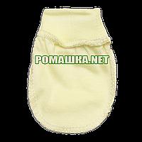 Тёплые с начёсом варежки р. 56-62 (царапки рукавички антицарапки) ткань ФУТЕР для новорожденного 3421 Желтый