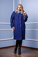 Женское зимнее темно-синее пальто П-987 н/м  Тон 40  Favoritti 48-58 размеры