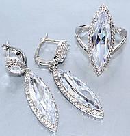 """Набор  """"серьги и кольцо"""",покрытие родием. Камень:белый циркон. Высота серьги: 4,5 см Ширина: 10 мм"""