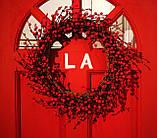 Новогодний большой венок с красными ягодами и шишками, 60см, фото 2
