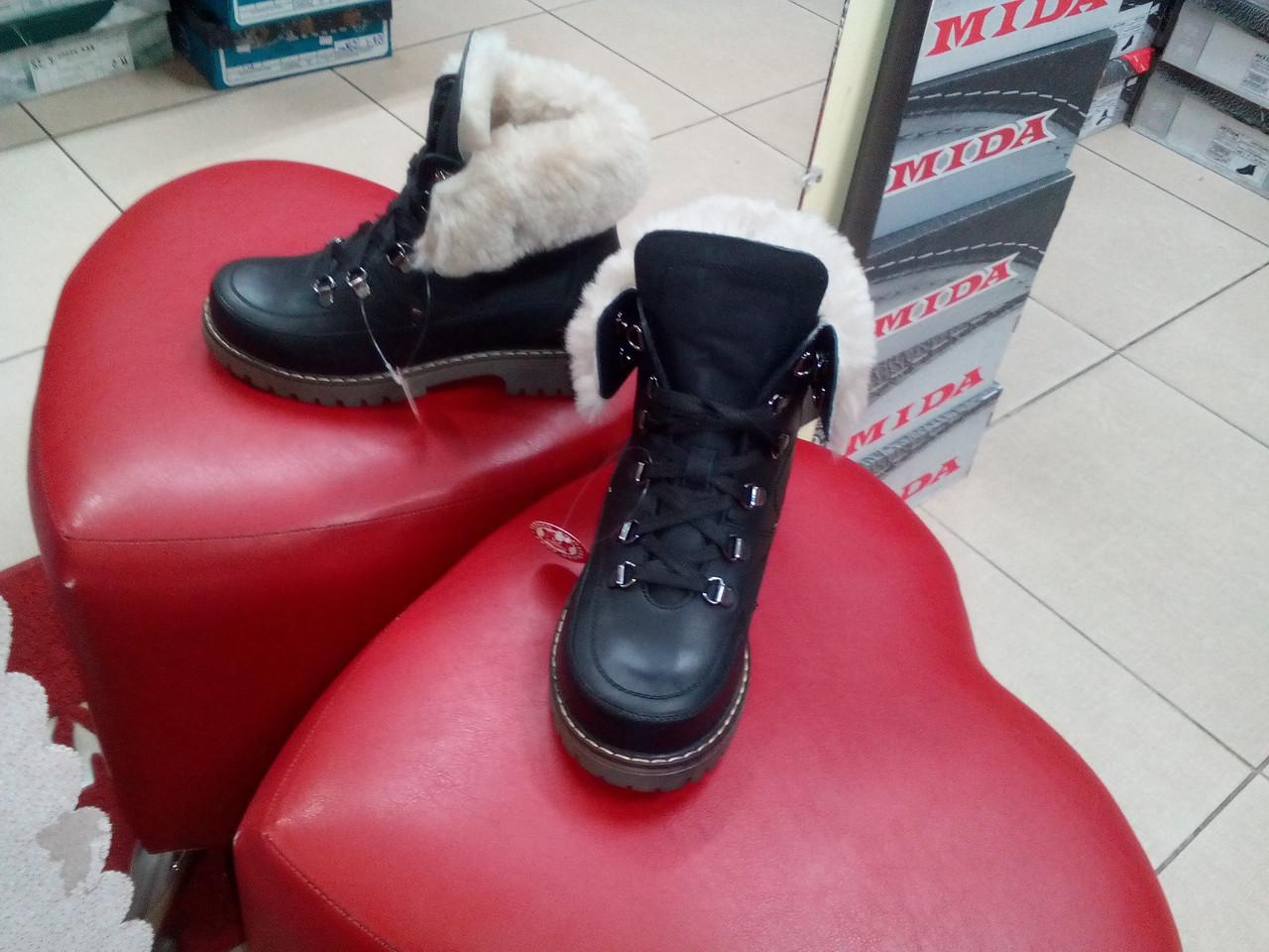 Ботинки женские кожаные МИДА 24414-03 черные.