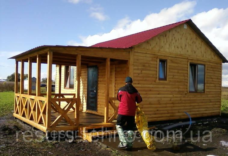 Дачный домик 6м х 6м из блокхауса с террассой