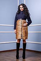 Женское зимнее темно-синее пальто П-976 и/м Mol Тон 25  Favoritti 42-50 размеры