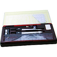 Набор инструментов для черчения в пластиковом пенале с прзрачной крышкой пенале
