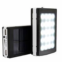 Солнечное зарядное устройство Power Bank 15000 mAh + использовать как фонарик (20 диодов)