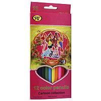Карандаши цветные мягкие Сartoon collection 12 шт.розовая упаковка FK10266, фото 1