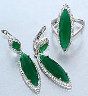 """Набор  """"серьги и кольцо"""",покрытие родием. Камень:белый и зелёный циркон. Высота серьги: 4,5 см Ширина: 10 мм"""