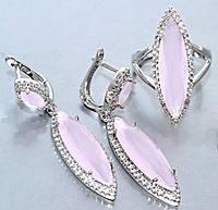 """Набор  """"серьги и кольцо"""",покрытие родием. Камень:белый и розовый циркон. Высота серьги: 4,5 см Ширина: 10 мм"""