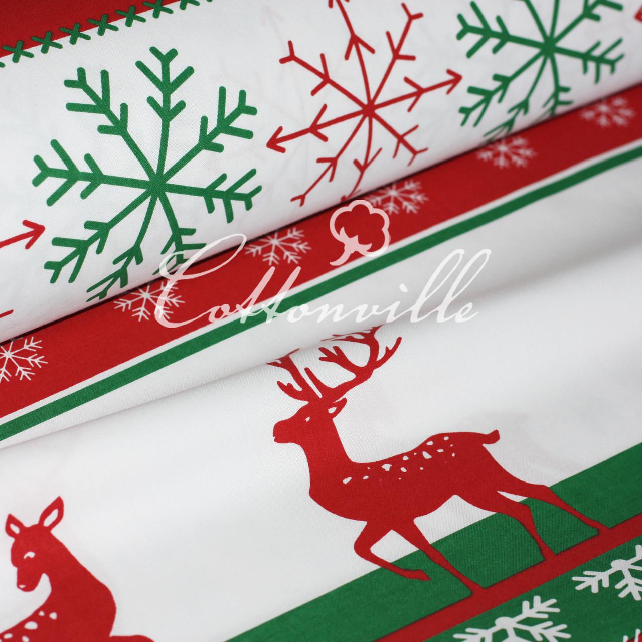 Отрез бязи Зимние мотивы красно-зеленая 100х80 см