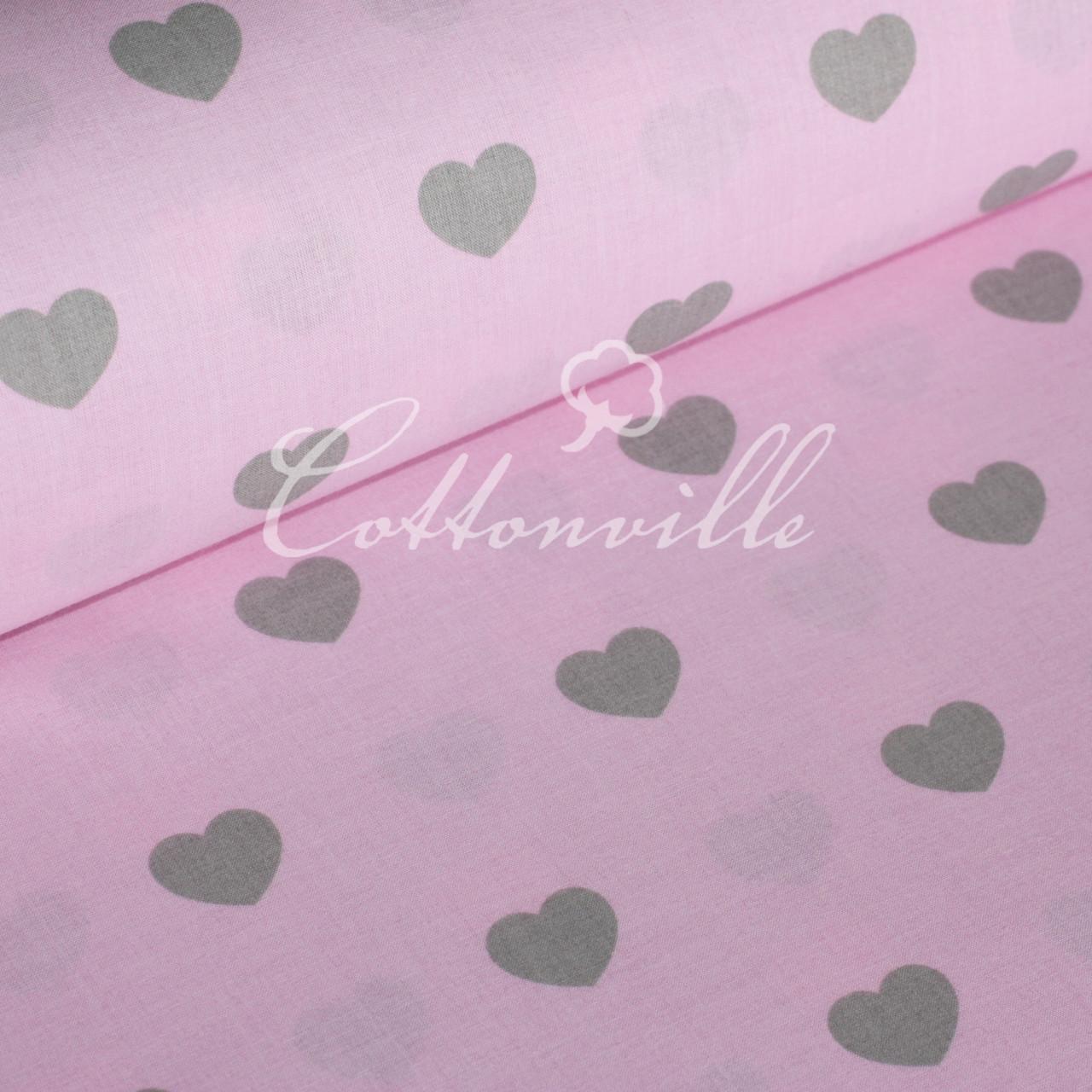 Бязь Сердечки серые на розовом (30 мм)