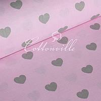 Отрез бязи Сердечки серые на розовом (30 мм) 50х94 см