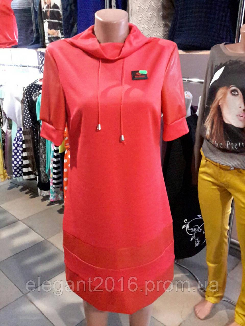 Платье красное с кожей