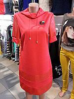 Платье красное с кожей, фото 1