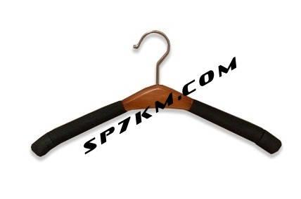Плечики - вешалка поролон с деревянной вставкой женская, тёмная, фото 2