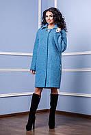 Серо-голубое женское демисезонное пальто В-985 W06+TY008 Тон 31  Favoritti  44-60 размеры