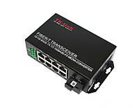 Медиаконвертер TK-link 10/100mb 1SC.WDM+8RJ45 1550