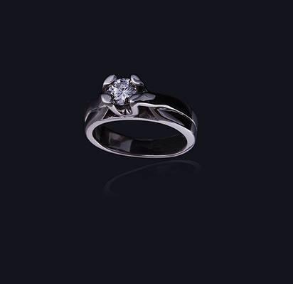 Женское кольцо из белого золота с бриллиантом С24Л1№4