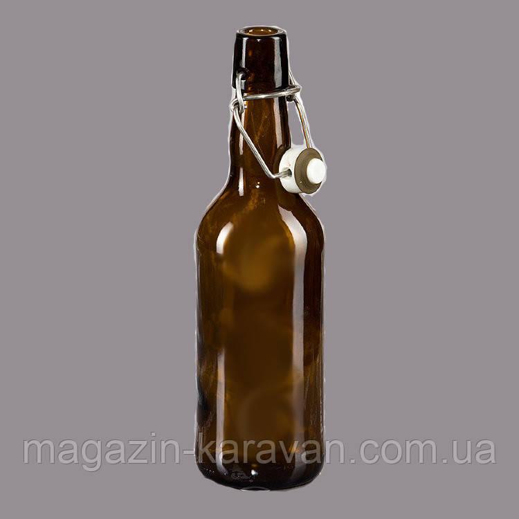 Стеклянная бутылка коричневая под пиво с бугельной крышкой 0.5мл